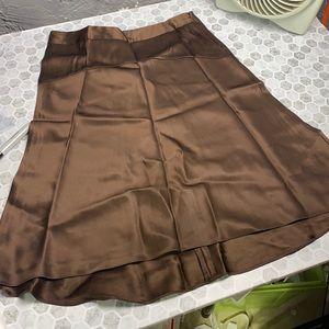 Banana Republic Sz 6 Brown Silk Skirt